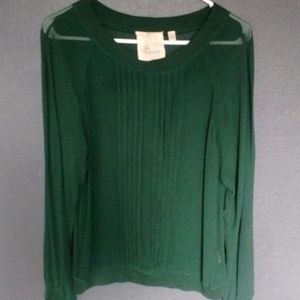Anthropologie Sheer Pleated Blouse, Size M